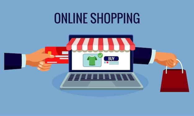Tecnologia de compras online em laptop com ilustração de cartão de crédito e sacola de compras