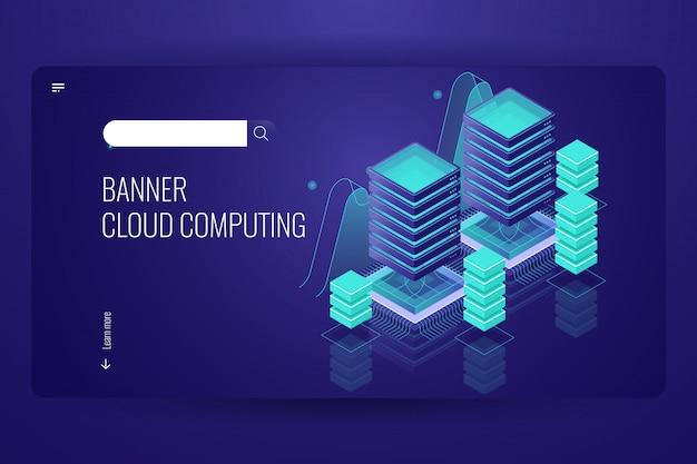 Tecnologia de computação em nuvem, armazenamento de dados remoto, conceito de data center de sala de servidores, banco de dados em nuvem