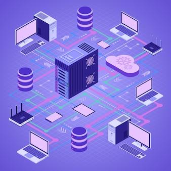 Tecnologia de computação em nuvem de rede de dados isométrica