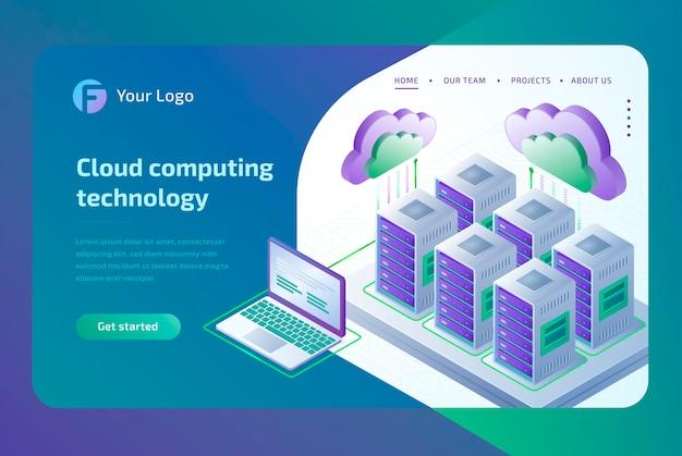 Tecnologia de computação em nuvem e conceito de sala do servidor. modelo de página de destino. isométrico