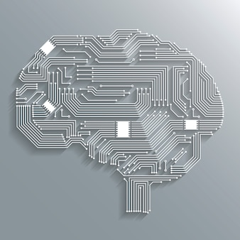 Tecnologia de computador eletrônica placa de circuito cérebro forma fundo ou emblema ilustração vetorial isolado