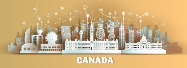 Tecnologia de comunicação de rede sem fio cidade inteligente com arquitetura no canadá em estilo de corte de papel
