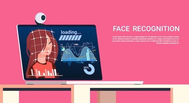 Tecnologia de conceito de reconhecimento de rosto de digitalização biométrica em autenticação de usuário feminino de laptop