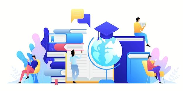 Tecnologia de conceito online de educação. e-books, cursos de internet a