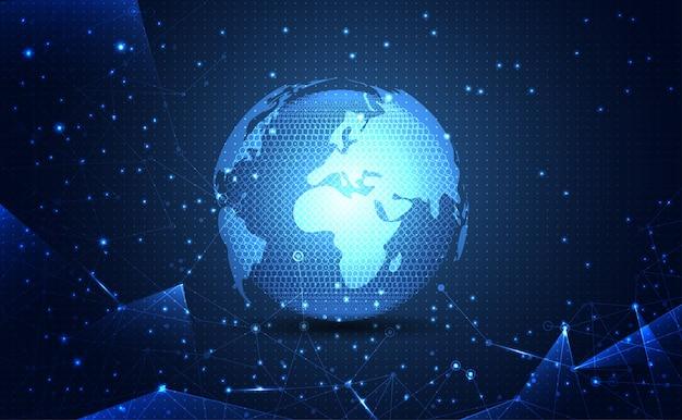 Tecnologia de conexão de ciência mundial moderna rede abstrata