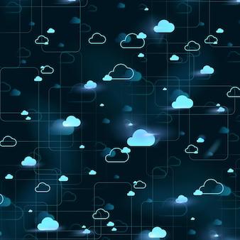 Tecnologia de conexão de fundo de padrão de nuvem digital
