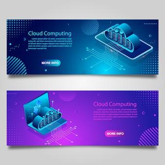 Tecnologia de dados de banner para design isométrico de negócios