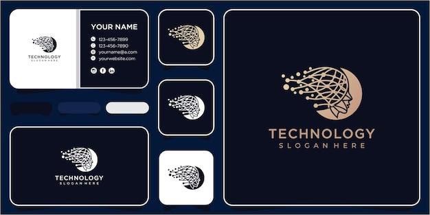 Tecnologia de dados de rosto com conceito de design de logotipo de dados. logotipo da head tech, vetor de conceito do logotipo da pixel head