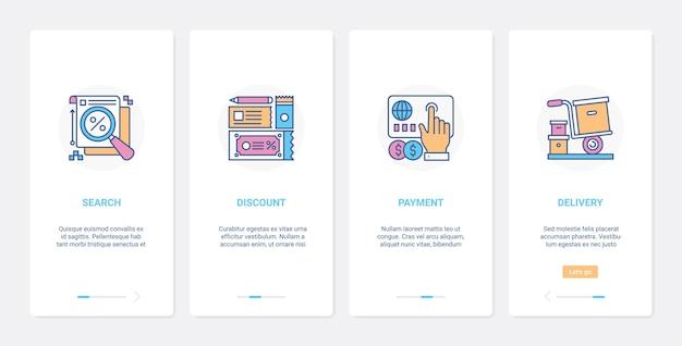 Tecnologia de desconto de lucro de compras online ux ui conjunto de tela de página de aplicativo móvel