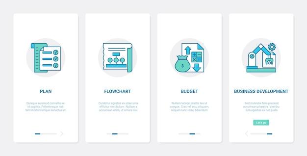 Tecnologia de desenvolvimento de plano de negócios ux ui conjunto de tela de página de aplicativo móvel