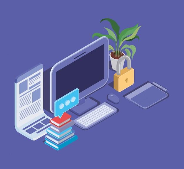 Tecnologia de educação on-line com área de trabalho