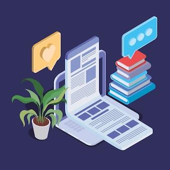 Tecnologia de educação on-line com laptop