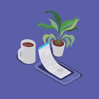 Tecnologia de educação on-line com smartphone