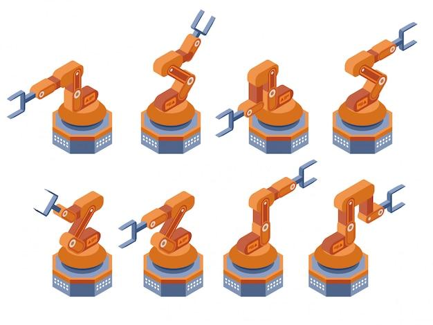 Tecnologia de fabricação de braços robóticos industriais. ilustração vetorial isométrica