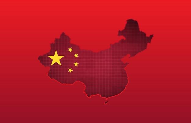 Tecnologia de fundo abstrato da bandeira da china e mapa de china vermelho