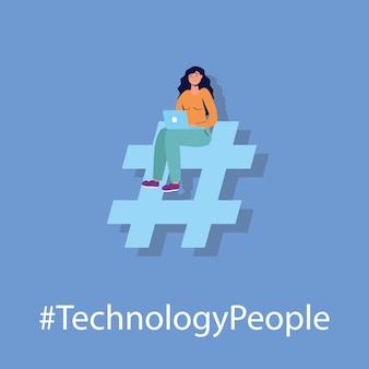 Tecnologia de homem com caráter de laptop