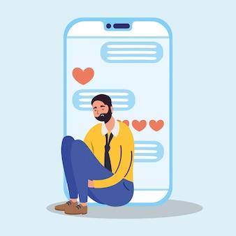 Tecnologia de homem com caráter de smartphone