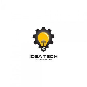 Tecnologia de idéia com logotipo da lâmpada mecânica