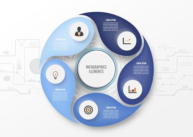Tecnologia de infográfico com etiqueta de papel 3d, círculos integrados. conceito de negócio com 5 opções. para conteúdo, diagrama, fluxograma, etapas, peças, infográficos de linha do tempo, fluxo de trabalho, gráfico.