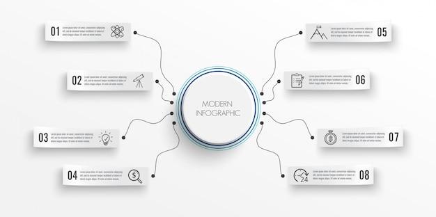 Tecnologia de infográfico de vetor com papel 3d