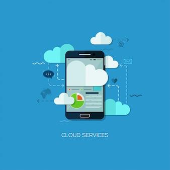 Tecnologia de infográfico de web plana de serviços de nuvem