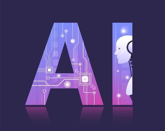 Tecnologia de inteligência artificial robótica inteligente aprendendo com bigdata