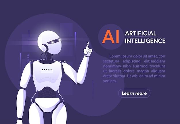 Tecnologia de inteligência artificial robótica inteligente aprendendo com o banner bigdata