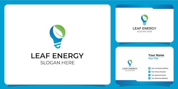 Tecnologia de lâmpada de logotipo elegante e minimalista e cartão de visita
