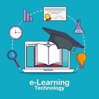 Tecnologia de laptop com barra de estatísticas e livros