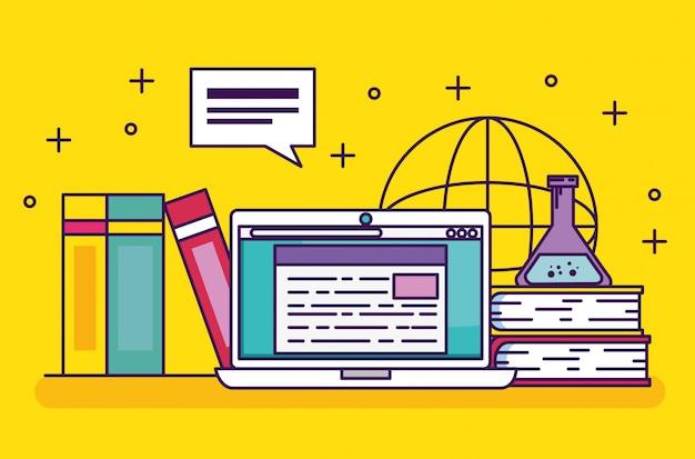 Tecnologia de laptop com educação de livros