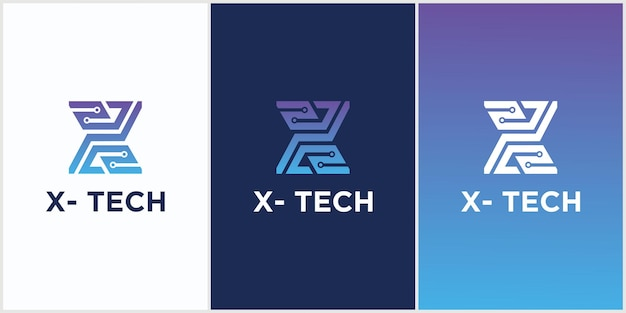 Tecnologia de logotipo da letra inicial x símbolo de círculo conectado