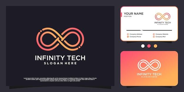 Tecnologia de logotipo infinity com conceito criativo premium vector