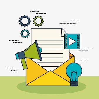 Tecnologia de marketing digital com envelope