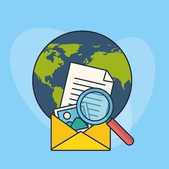 Tecnologia de marketing digital com o planeta mundo