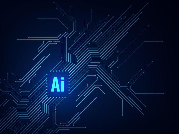 Tecnologia de microchip eletrônico de placa de chipset ai