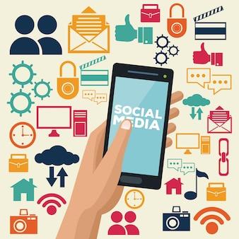 Tecnologia de mídia social casal jovem de desenhos animados