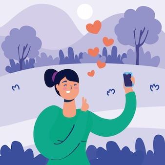 Tecnologia de mulher com caráter de smartphone