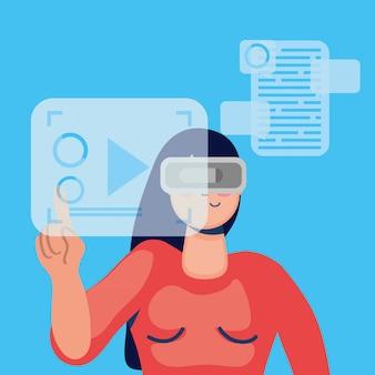 Tecnologia de mulher com máscara de realidade virtual