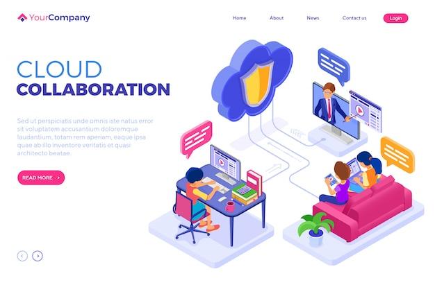 Tecnologia de nuvem educacional de colaboração online. modelo de página de destino