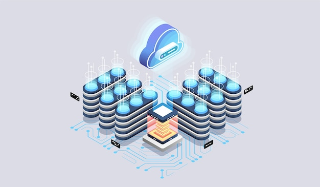 Tecnologia de nuvem moderna e conceito de rede