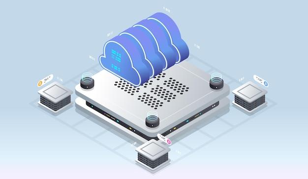 Tecnologia de nuvem moderna e conceito de rede.