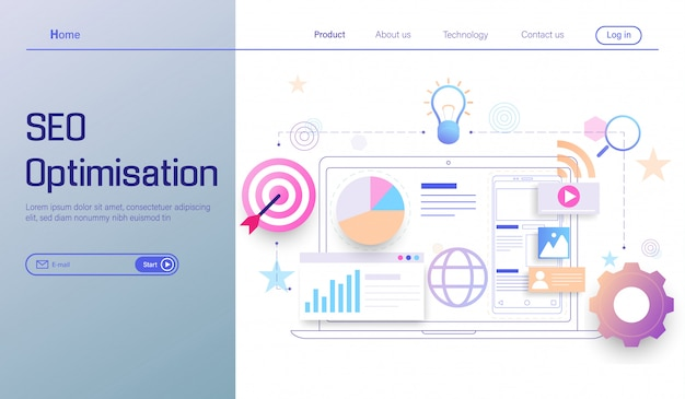 Tecnologia de otimização seo, análise de mecanismo de pesquisa, análise social e de dados