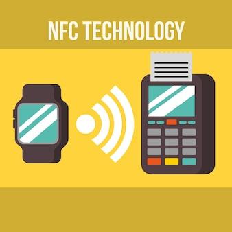 Tecnologia de pagamento nfc relógio de pulso sinal de dados dataphone