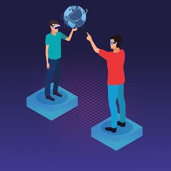 Tecnologia de pessoas e óculos de realidade virtual