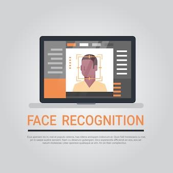 Tecnologia de reconhecimento de rosto computador portátil sistema de segurança de digitalização homem afro-americano usuário biom