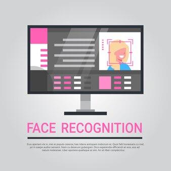 Tecnologia de reconhecimento de rosto computer security system scanning identificação biométrica do usuário do sexo feminino c