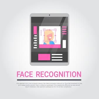Tecnologia de reconhecimento de rosto digital tablet security system scanning usuário fêmea biometric identifica