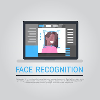 Tecnologia de reconhecimento de rosto laptop computador segurança sistema digitalização afro-americano feminino usuário bi