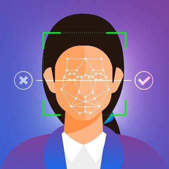 Tecnologia de reconhecimento facial de conceito de ilustrações presente com retrato closeup para rosto humano para digitalização. para editor de site de banner ou revista. ilustrar.