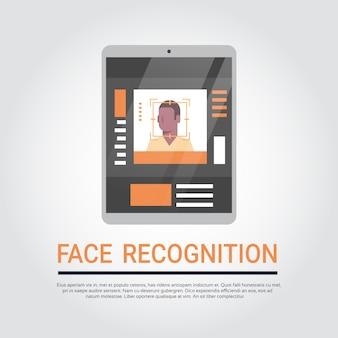 Tecnologia de reconhecimento facial digitalização do sistema de segurança de pastilhas digitais bioma de usuário masculino afro-americano